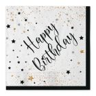 Carta & Company Tutto per il Party |  TOVAGLIOLI HAPPY BIRTHDAY NERO E BIANCO PZ. 20