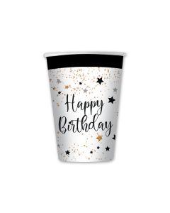 Carta & Company Tutto per il Party |  BICCHIERI HAPPY BIRTHDAY NERO E BIANCO PZ. 8