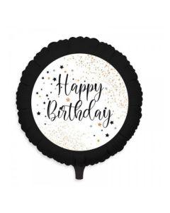 Carta & Company Tutto per il Party |  PALLONCINO MYLAR  HAPPY BIRTHDAY NERO ORO E BIANCO