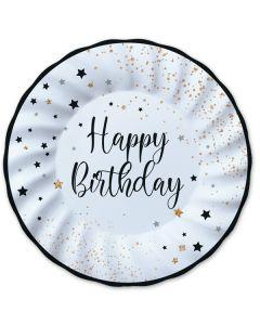 Carta & Company Tutto per il Party |  PIATTI G. HAPPY BIRTHDAY NERO E BIANCO PZ. 8